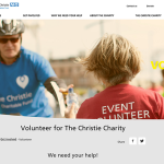 screenshot from The Christie Charity website